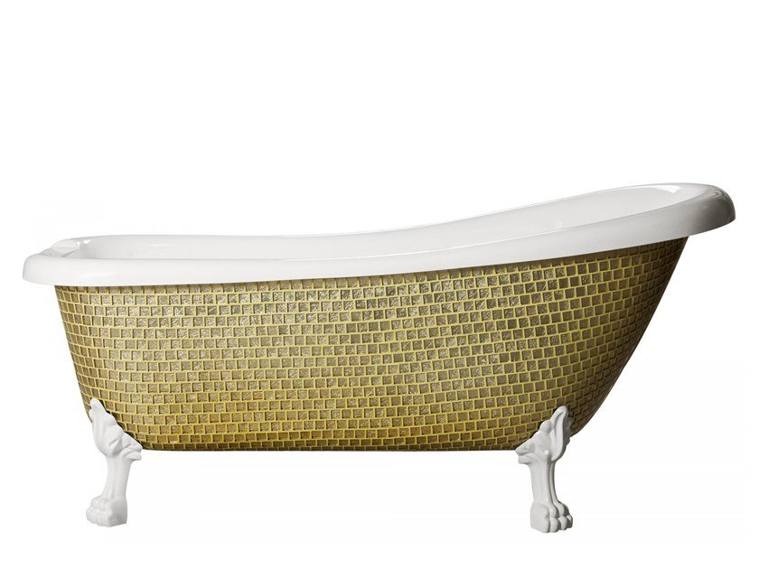 Freestanding bathtub on legs ROYAL - GLOSSY GOLD by Saikallys