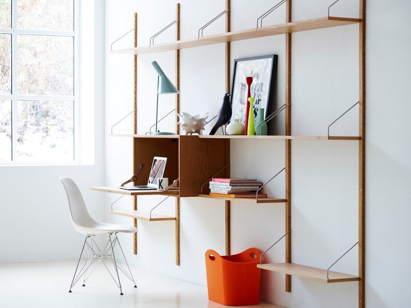 Wall Mounted Sectional Oak Shelving Unit Royal System By Dk3