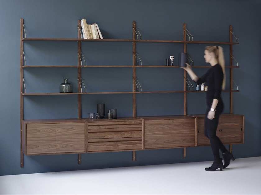 Wall-mounted sectional walnut shelving unit ROYAL SYSTEM® | Walnut shelving unit by dk3
