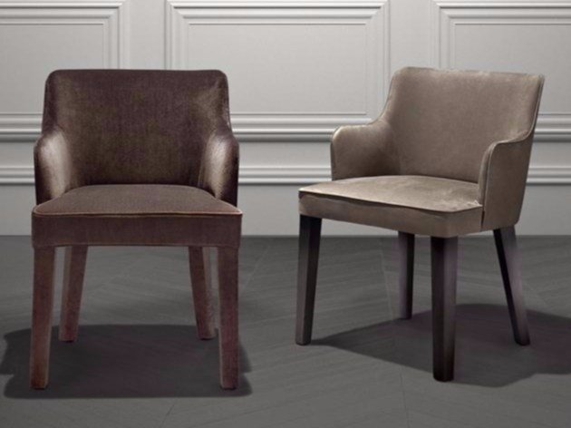 Upholstered fabric chair with armrests ROYALE | Chair by Casamilano
