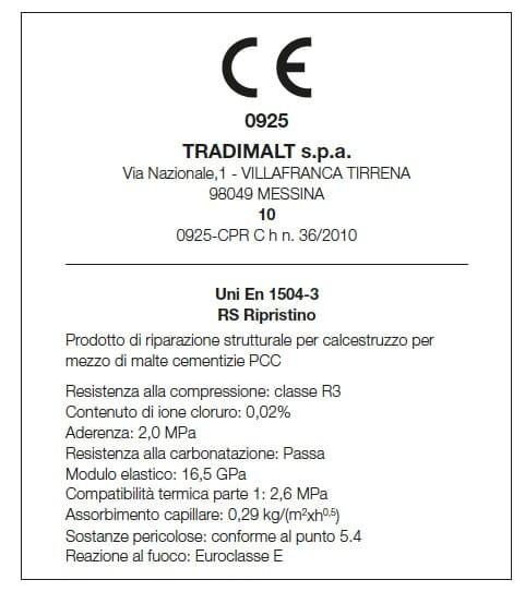 Certificazione UNI EN 1504-3