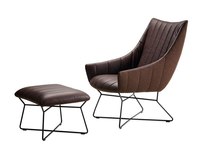 Leather armchair with armrests and footstool RUBIE LOUNGE CHAIR by Freifrau