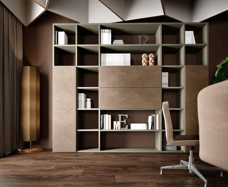 Libreria ufficio a giorno alta autoportante in legno RUBIK   Libreria ufficio modulare by Caroti