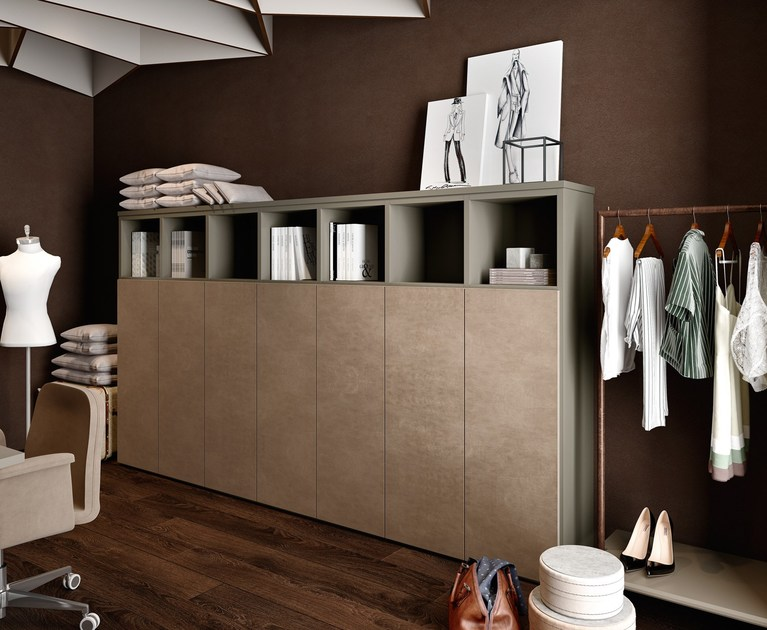 Contemporary style tall lacquered wooden office storage unit with hinged doors RUBIK | Modular office storage unit by Caroti