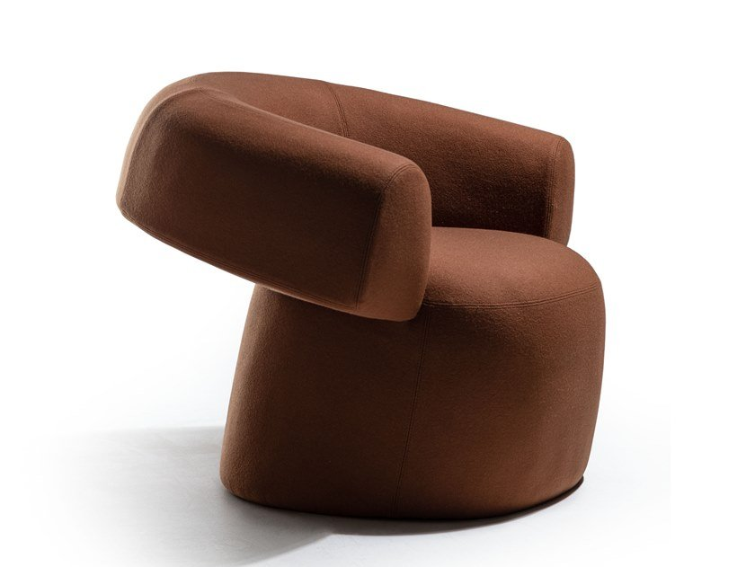Upholstered easy chair with armrests RUFF by Moroso