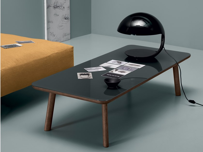 Rectangular coffee table RUM | Ash and glass coffee table by Md House