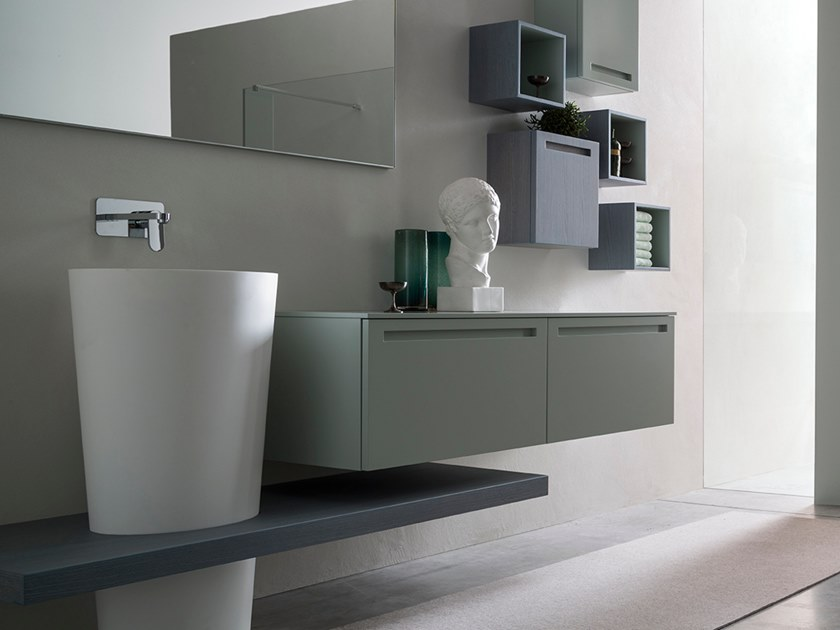 Sectional single wall-mounted vanity unit RUSH - COMPOSITION 29 by Arcom