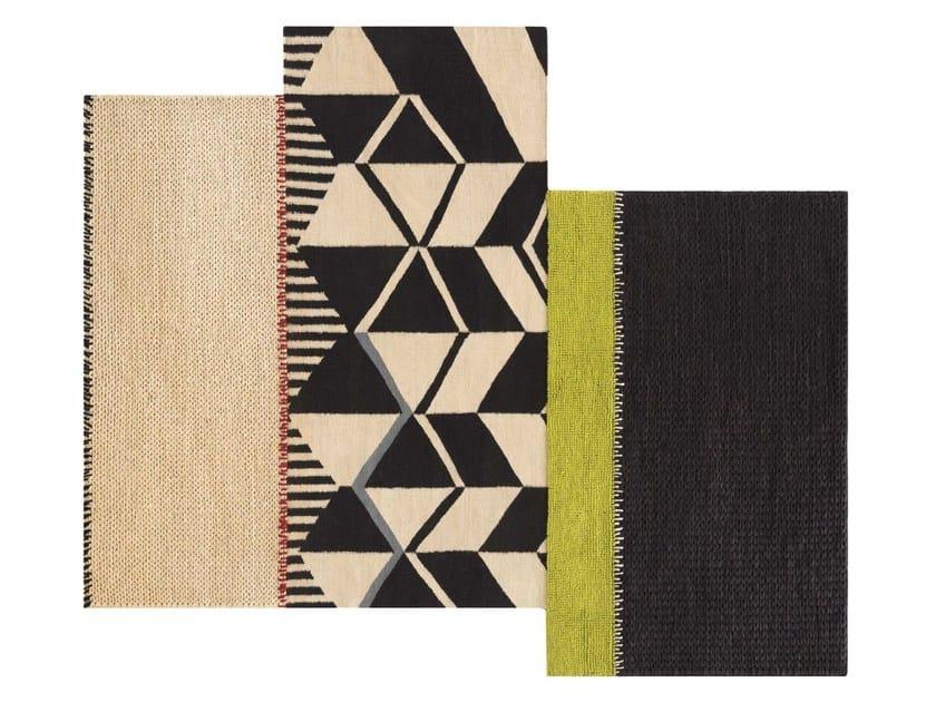 Tappeto fatto a mano rettangolare in lana a motivi geometrici RUSTIC CHIC | Tappeto a motivi geometrici by GAN