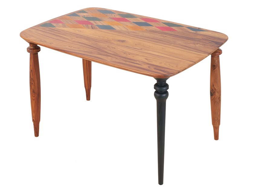Rectangular teak table RUTIG by ALANKARAM