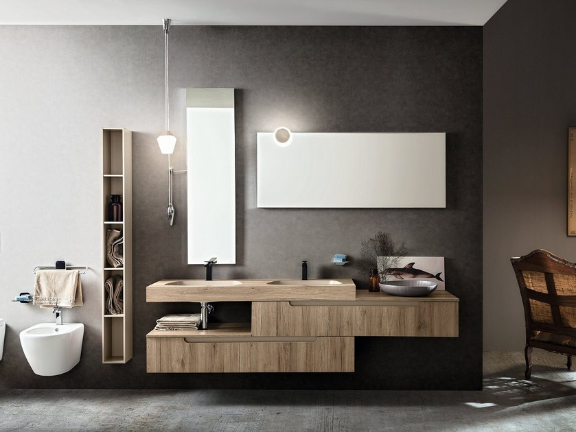 Double wall-mounted vanity unit RYO NEW 2/3 by Cerasa