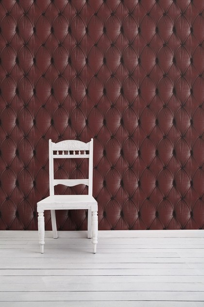Wallpaper RED CHESTERFIELD BUTTON BACK by Mineheart