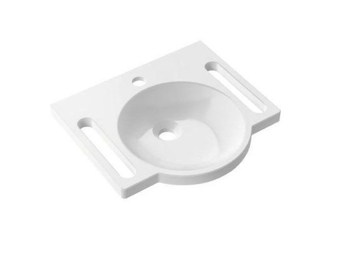 Round composite material washbasin for disabled Round washbasin by HEWI