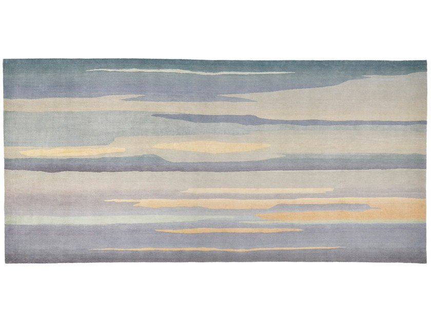 Hand knotted graded wool and silk rug SKYSCAPE by Deirdre Dyson
