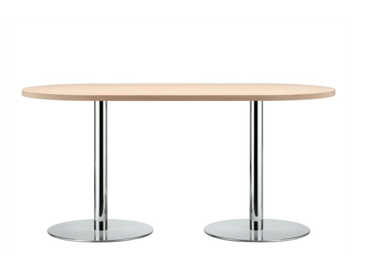 Oval steel and wood table S 1124 by THONET