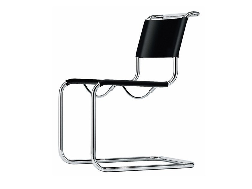 Cantilever tanned leather chair S 33 | Cantilever chair by THONET