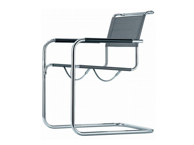 Cantilever mesh chair with armrests S 34 N by THONET