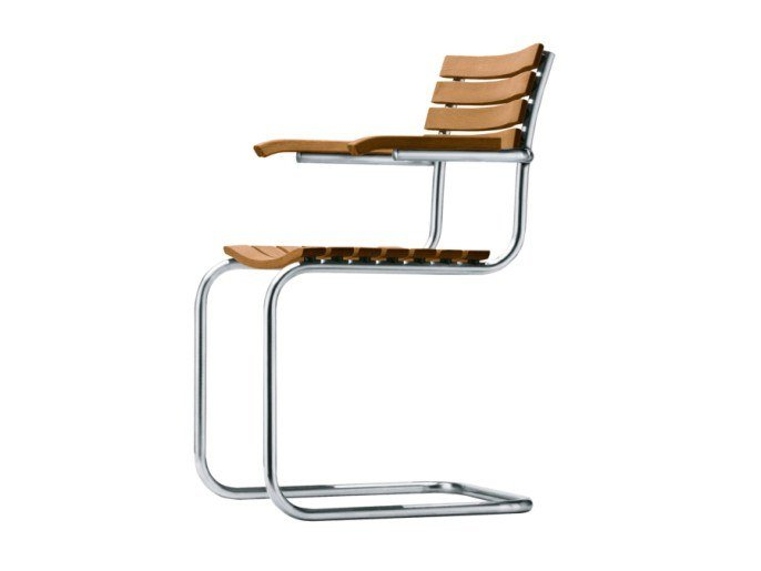 Cantilever iroko garden chair with armrests S 40 F by THONET