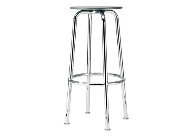 High steel and wood stool S 42 H by Thonet