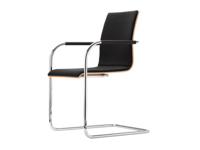Cantilever upholstered chair with armrests S 53 PF by Thonet