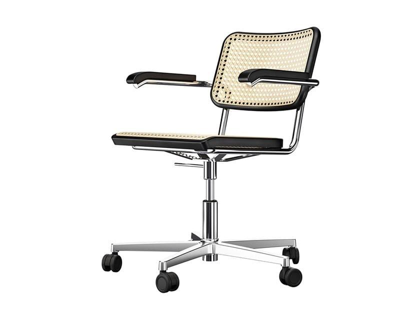 Cadeira giratória de 5 raios de vime com rodízios S 64 VDR by Thonet