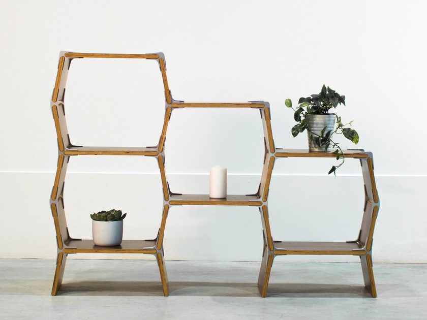 Open wooden bookcase S4 by Modos