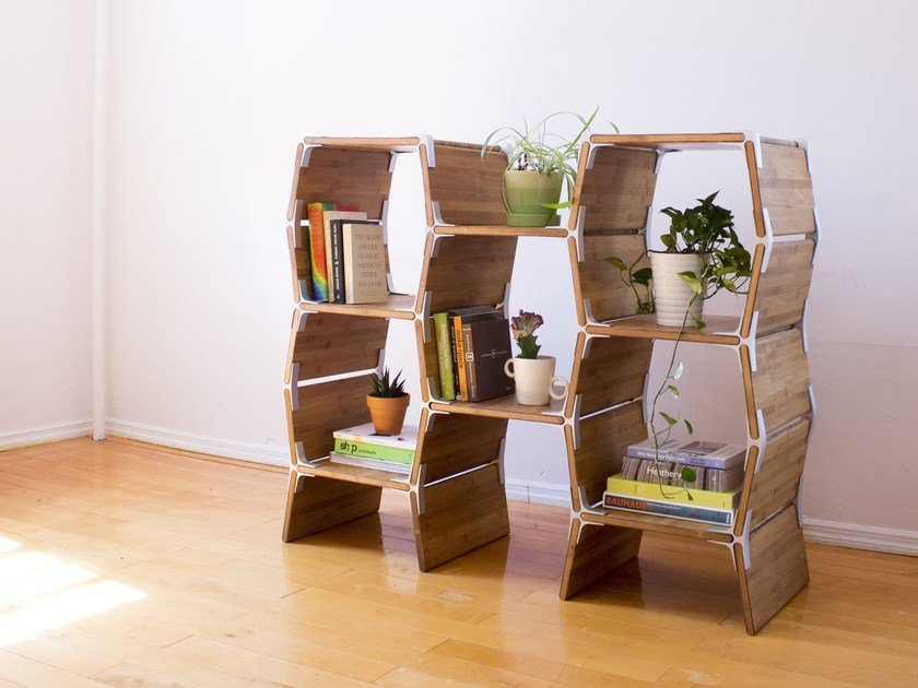 Open wooden bookcase S5 by Modos