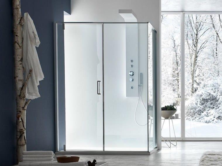S6   Box doccia angolare angolo pivot battente + lato fisso / installazione appoggio pavimento