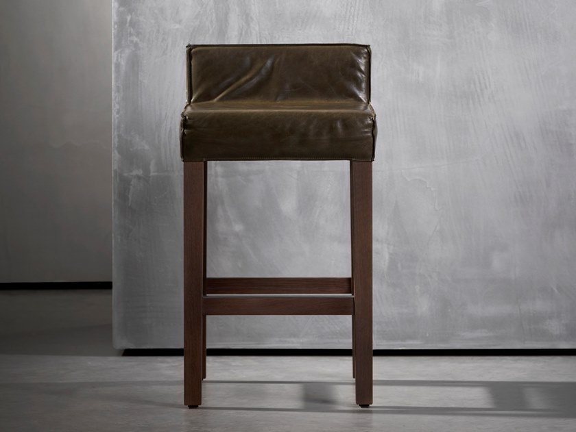 High wooden stool SAAR | Stool by Piet Boon