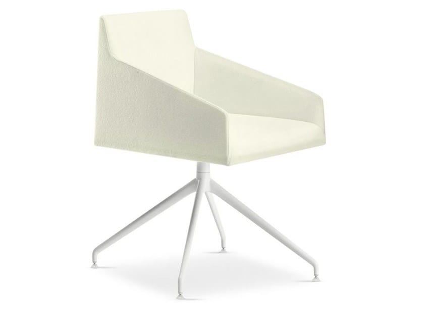 Swivel trestle-based chair with 4-spoke base SAARI   Trestle-based chair by arper