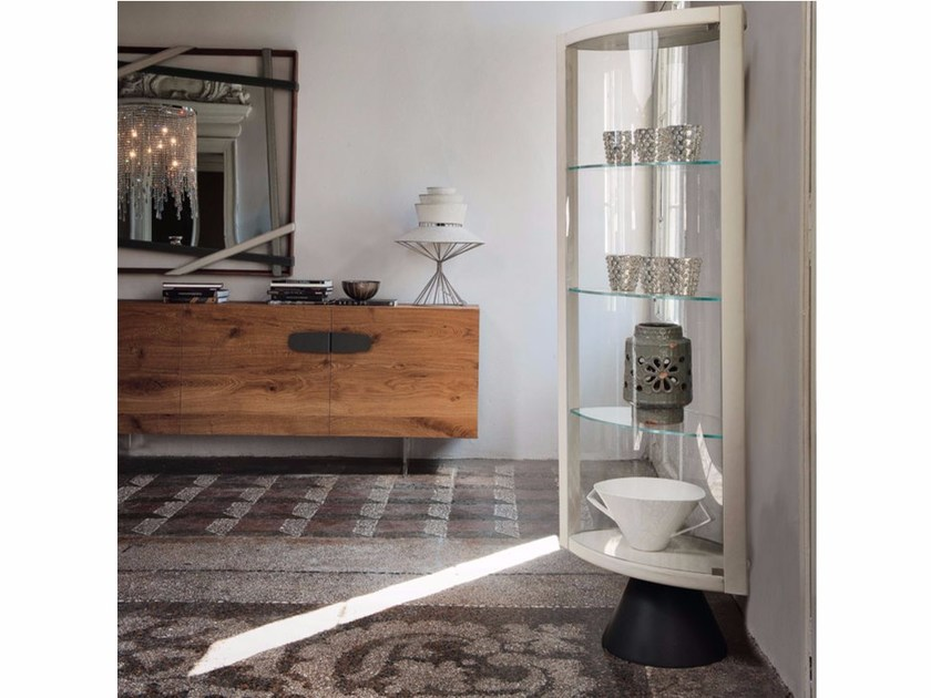 Leather display cabinet with integrated lighting SABA by Cattelan Italia