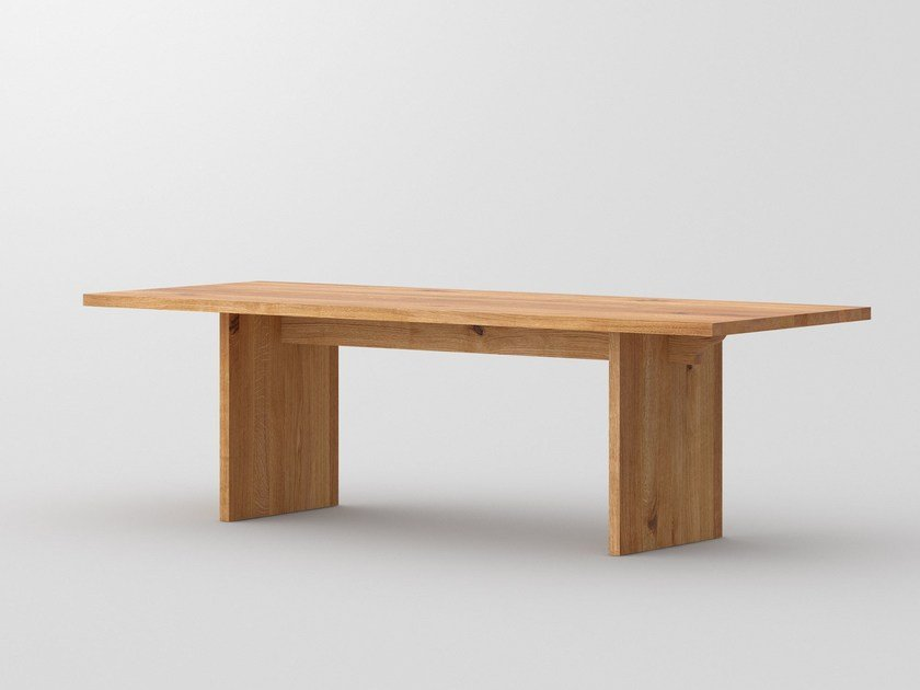 Rectangular solid wood table SAGA by Vitamin Design