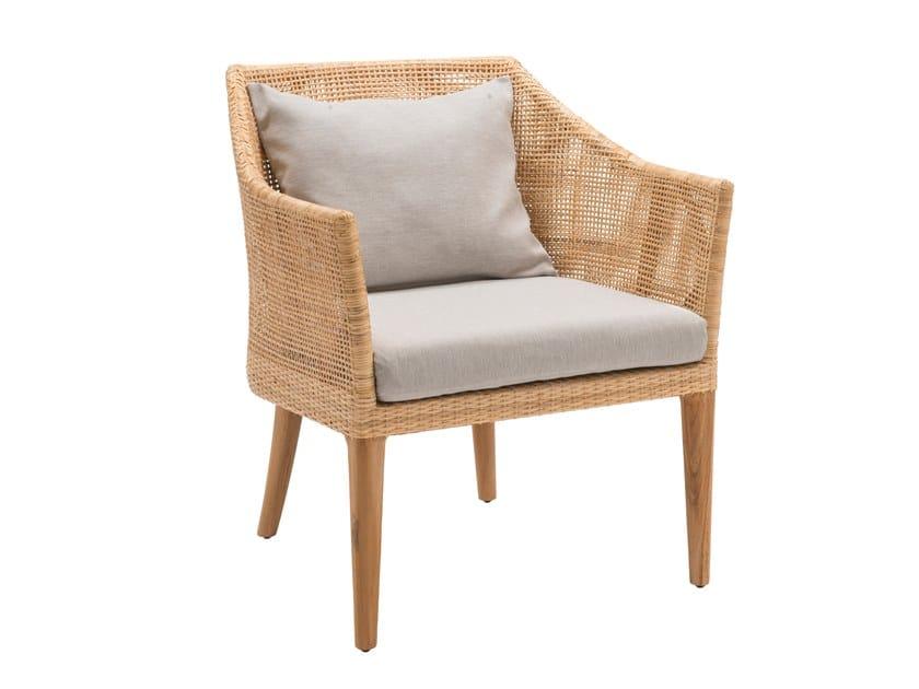 Rattan armchair with armrests SAIGON | Armchair by Kok Maison
