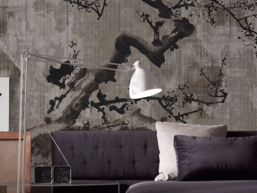 Contemporary style panoramic glass-fibre wallpaper SAKURA by Inkiostro Bianco