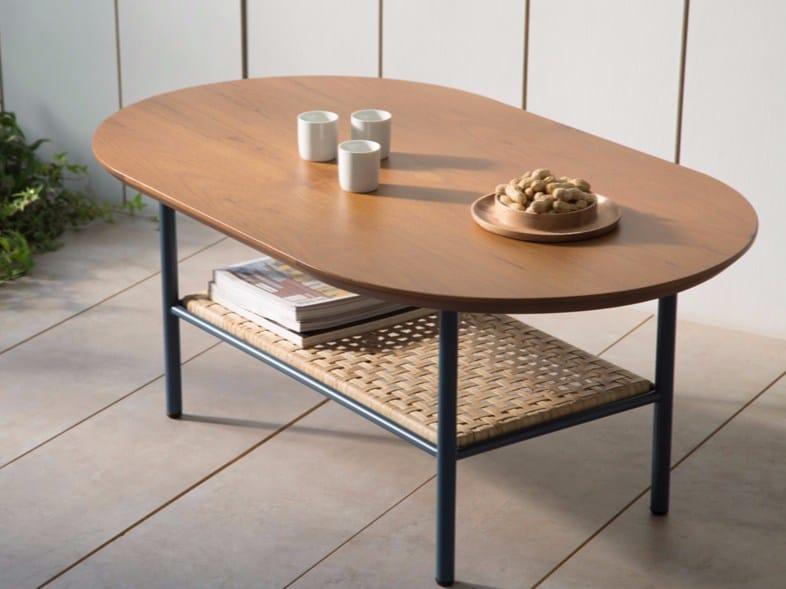 Oval teak coffee table SALBE | Teak coffee table by Kann Design