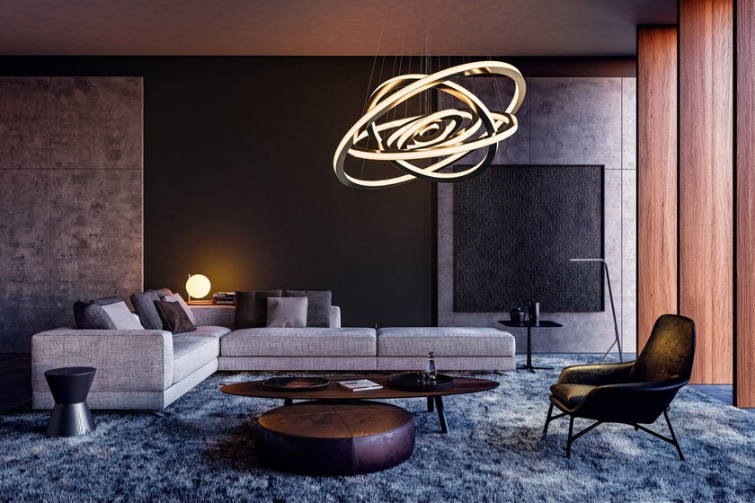 Led metal pendant lamp with dimmer salo lunar by cameron design house