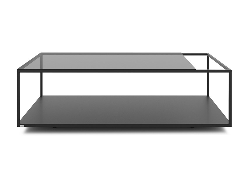 Rectangular glass and steel coffee table SALTO by take me HOME