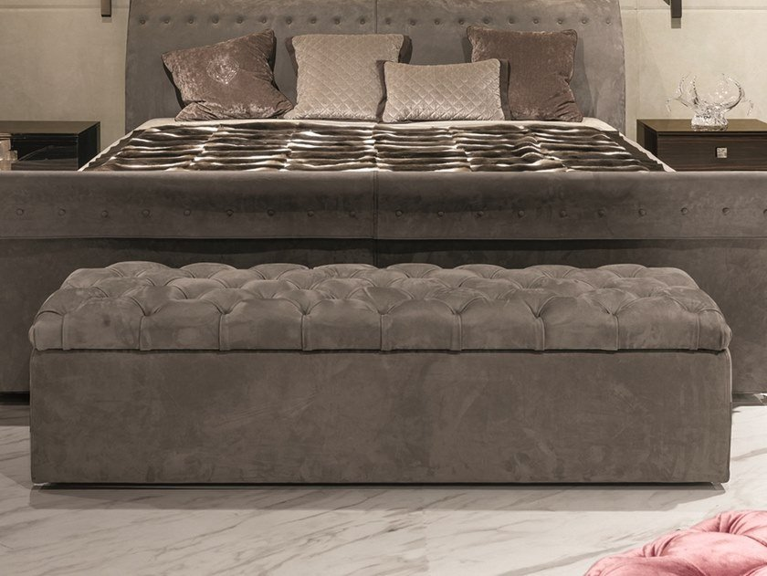 Tufted storage leather bench SAM by Longhi