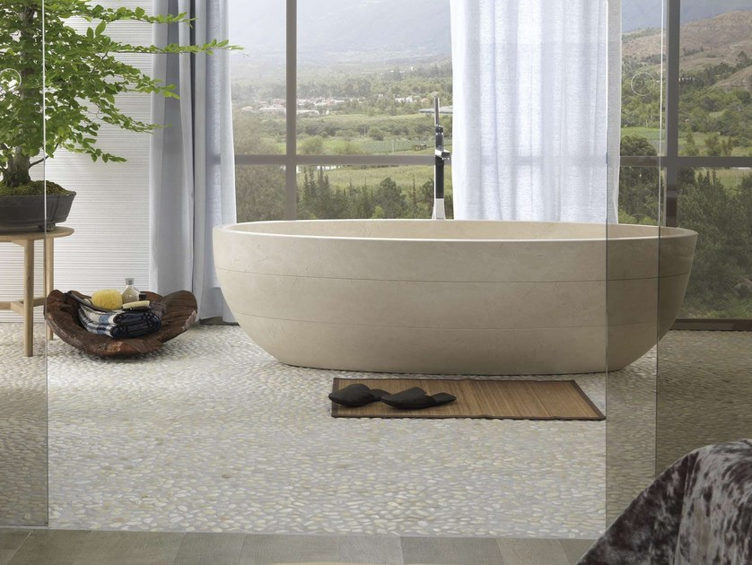 Freestanding oval natural stone bathtub SAMARA BIOPROT by L'antic Colonial