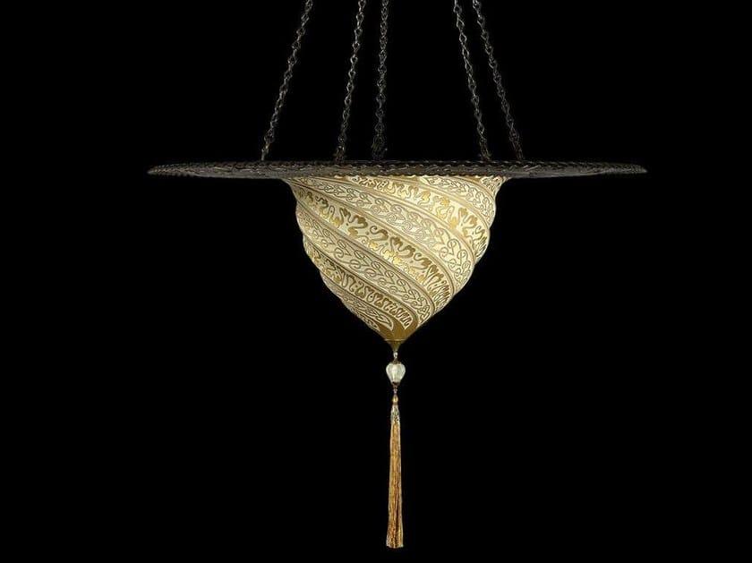 Glass pendant lamp SAMARKANDA WITH METAL RING | Glass pendant lamp by Fortuny