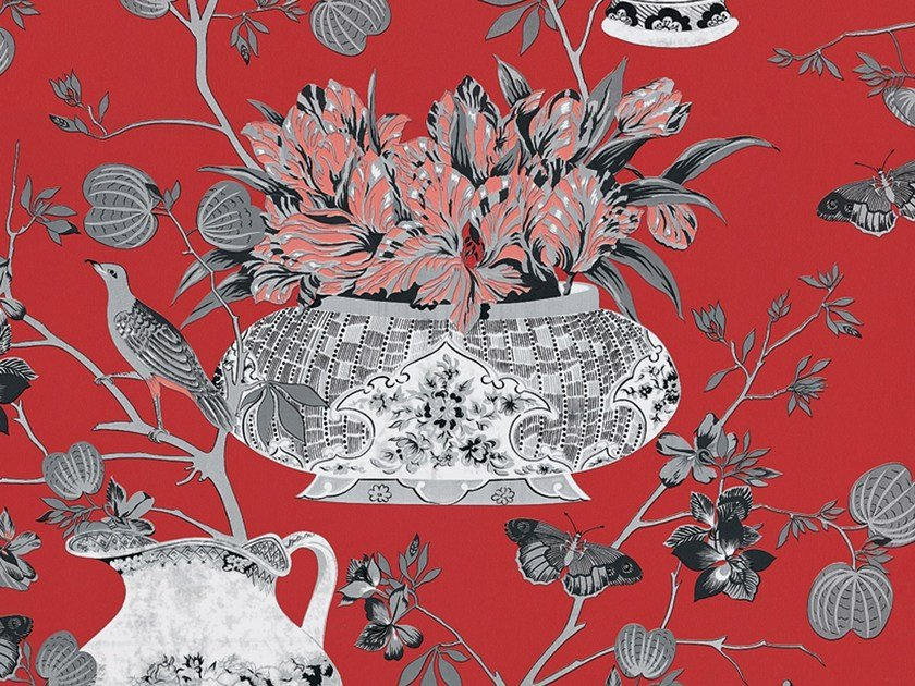 Wallpaper with floral pattern SAMURAI by Equipo DRT