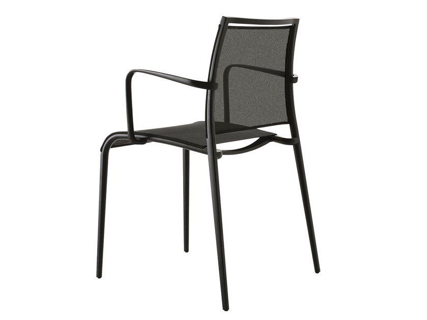 Stackable synthetic fibre garden chair with armrests SAND LIGHT | Chair with armrests by Desalto