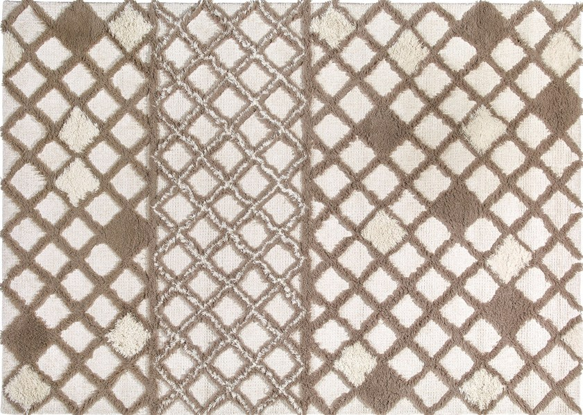 Long pile rectangular rug with geometric shapes DUNE IVORY by Italy Dream Design