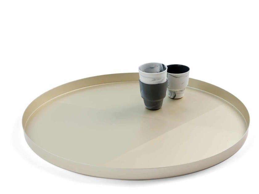 Round aluminium tray SANDPAPER TRAY by Vij5