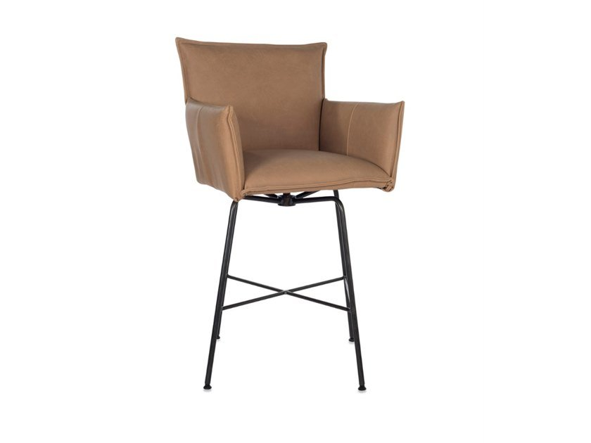High swivel leather stool with armrests SANNE | High stool by Jess