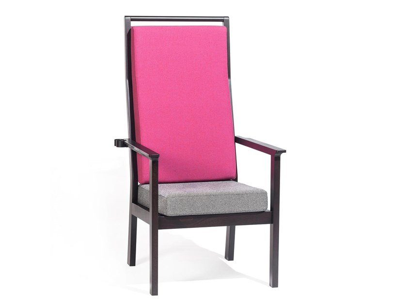 High-back fabric armchair with removable cover with armrests SANTIAGO | High-back armchair by TON