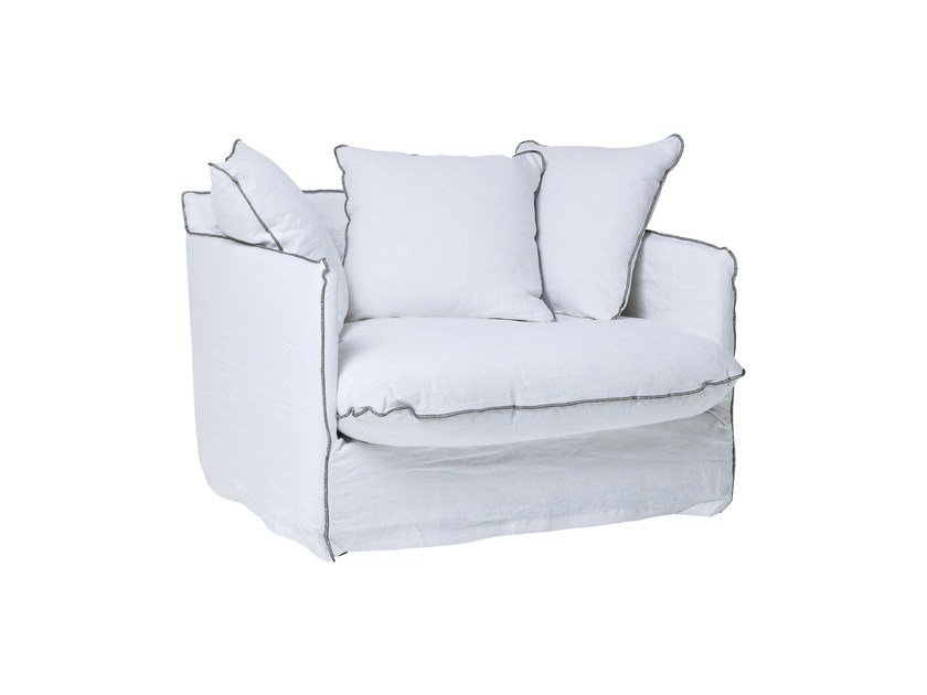 Linen armchair with armrests SANTORINI | Armchair by KARE-DESIGN