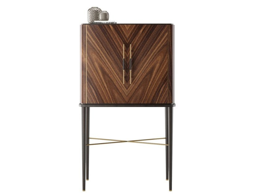 Solid wood tall cabinet with doors SANTORINI by FRATO