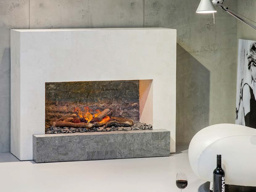 Electric wall-mounted vent free reconstructed stone fireplace SANTOS MF by BRITISH FIRES