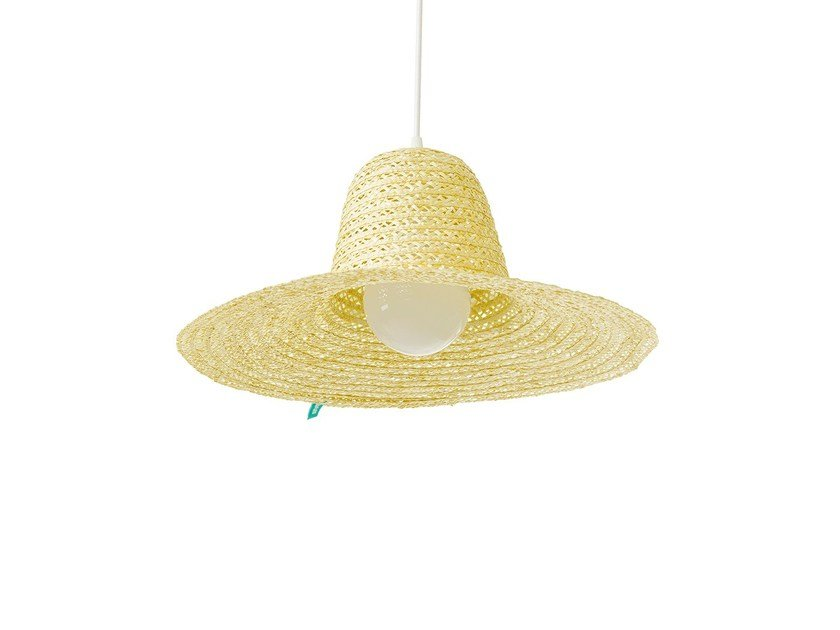 Pendant lamp with straw lampshade SARA by DAM