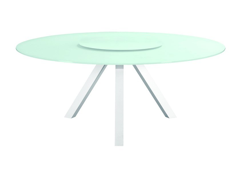 Glass and aluminium garden table with Lazy Susan SARIA by MOBIKA GARDEN
